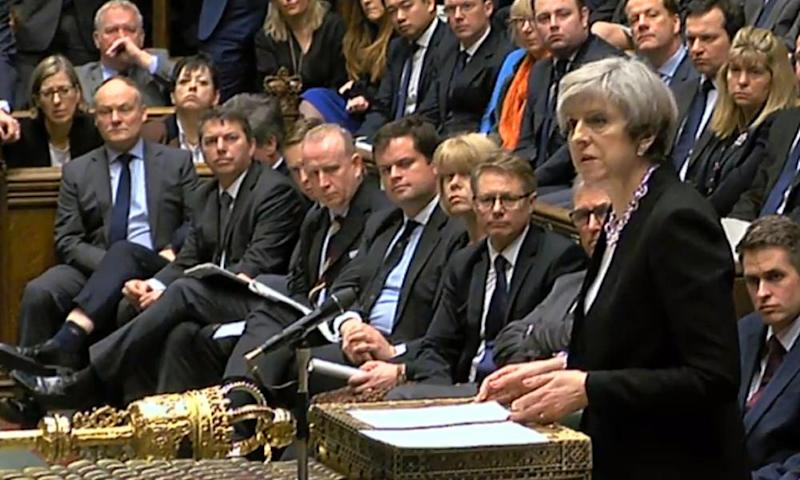 Theresa May speaks to MPs in the Commons on Thursday.