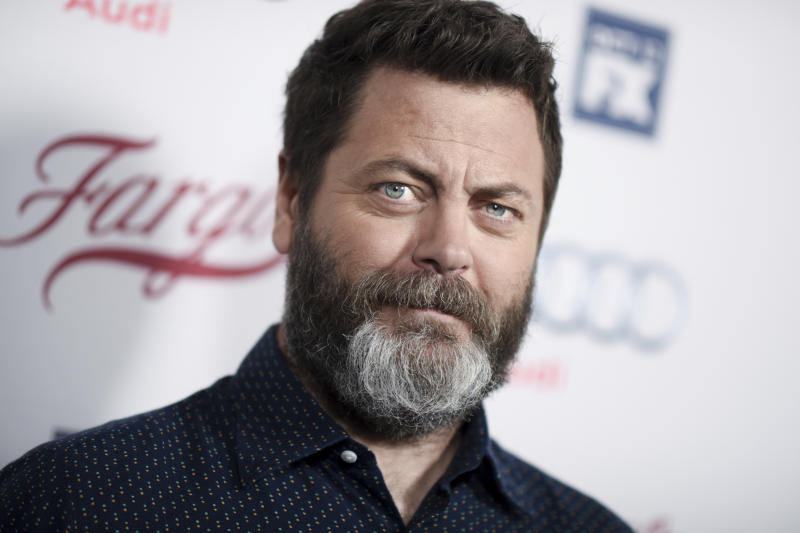 """FILE - In this Oct. 7, 2015, file photo, actor Nick Offerman arrives at the LA Premiere of """"Fargo"""" Season two at Arclight Cinemas Hollywood in Los Angeles. NBC announced on March 28, 2017, that Offerman is teaming up with his former """"Parks and Recreation"""" co-star Amy Poehler for an for an NBC reality competition focused on craft making. (Photo by Richard Shotwell/Invision/AP, File)"""