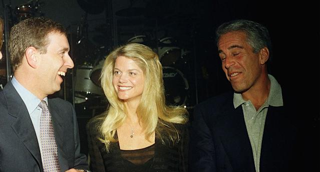 Prince Andrew, Gwendolyn Beck and Jeffrey Epstein at a party at the Mar-a-Lago club in Florida (Getty)