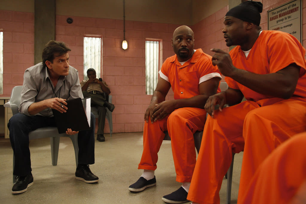 "Charlie Sheen, James Black and Darius McCrary in ""Anger Management"" on FX."