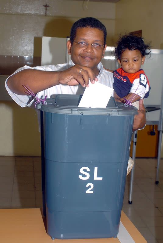 Seychelles presidential candidate Ramkalawan casts his vote at a polling station in St. Louise constituency