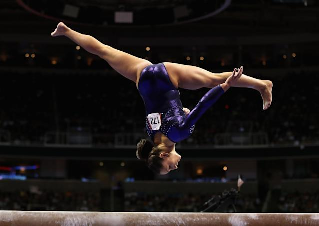 SAN JOSE, CA - JULY 01: Jordyn Wieber competes on the beam during day 4 of the 2012 U.S. Olympic Gymnastics Team Trials at HP Pavilion on July 1, 2012 in San Jose, California. (Photo by Ezra Shaw/Getty Images)