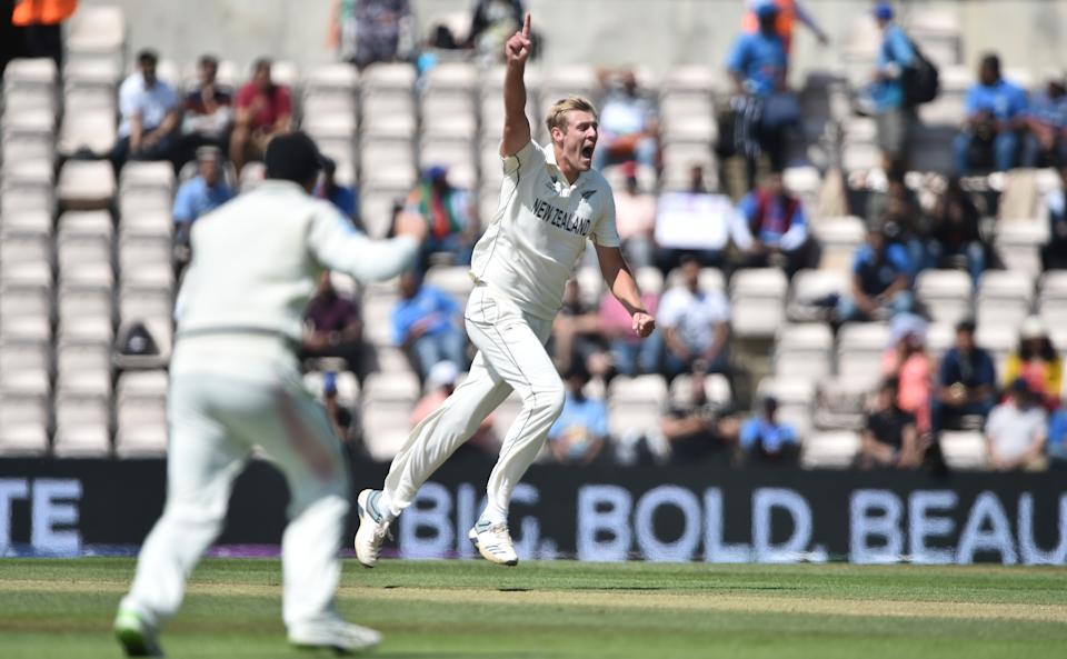 SOUTHAMPTON, ENGLAND - JUNE 23 : Kyle Jamieson of New Zealand celebrates after he gets Cheteshwar Pujara of India out during Day 6 of the ICC World Test Championship Final between India and New Zealand at The Hampshire Bowl on June 23, 2021 in Southampton, England. (Photo by Nathan Stirk-ICC/ICC via Getty Images)
