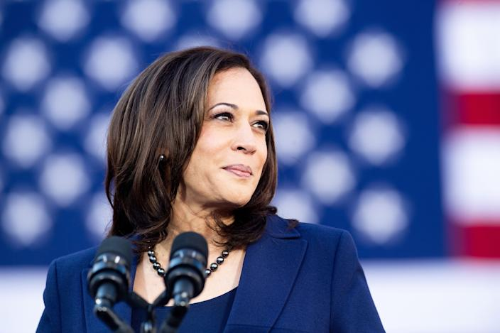 Kamala Harris speaks during a rally launching her presidential campaign on Sunday in Oakland, Calif. (Photo: Noah Berger/AFP/Getty Images)