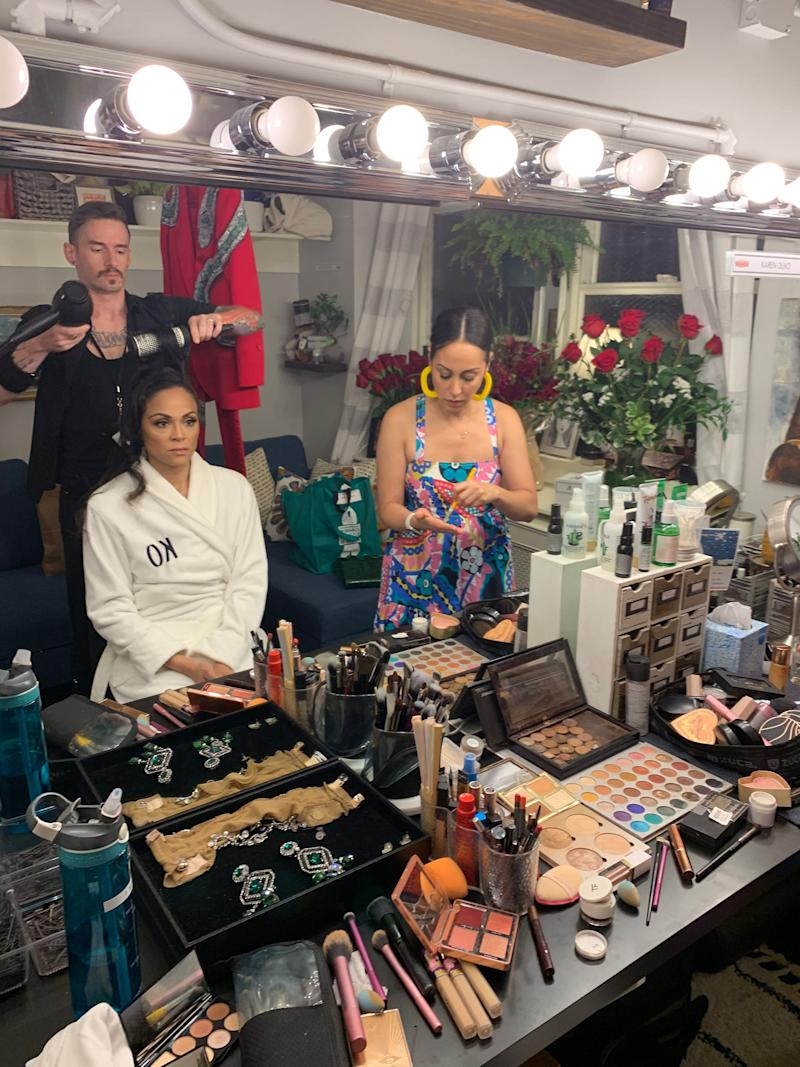 Glam team ready: Daniel Mortensen on hair and Kat Nejat-Thompson, makeup artist