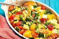 "<p>BBQs and cookouts aren't just for burgers and hot dogs. Take advantage of summer produce while it's in season—corn, cucumbers, peppers, and zucchini are all in their prime right now. And if you want even more healthy dinner ideas, try these <a href=""https://www.delish.com/entertaining/g2467/grilled-vegetables/"" rel=""nofollow noopener"" target=""_blank"" data-ylk=""slk:recipes for grilled veggies"" class=""link rapid-noclick-resp"">recipes for grilled veggies</a>.</p>"