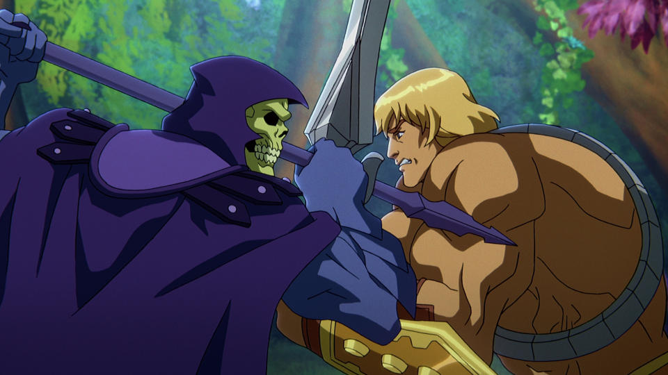 Mark Hamill voices Skeletor and Chris Wood plays He-Man in Kevin Smith's new series 'Masters of the Universe: Revelation'. (Netflix)