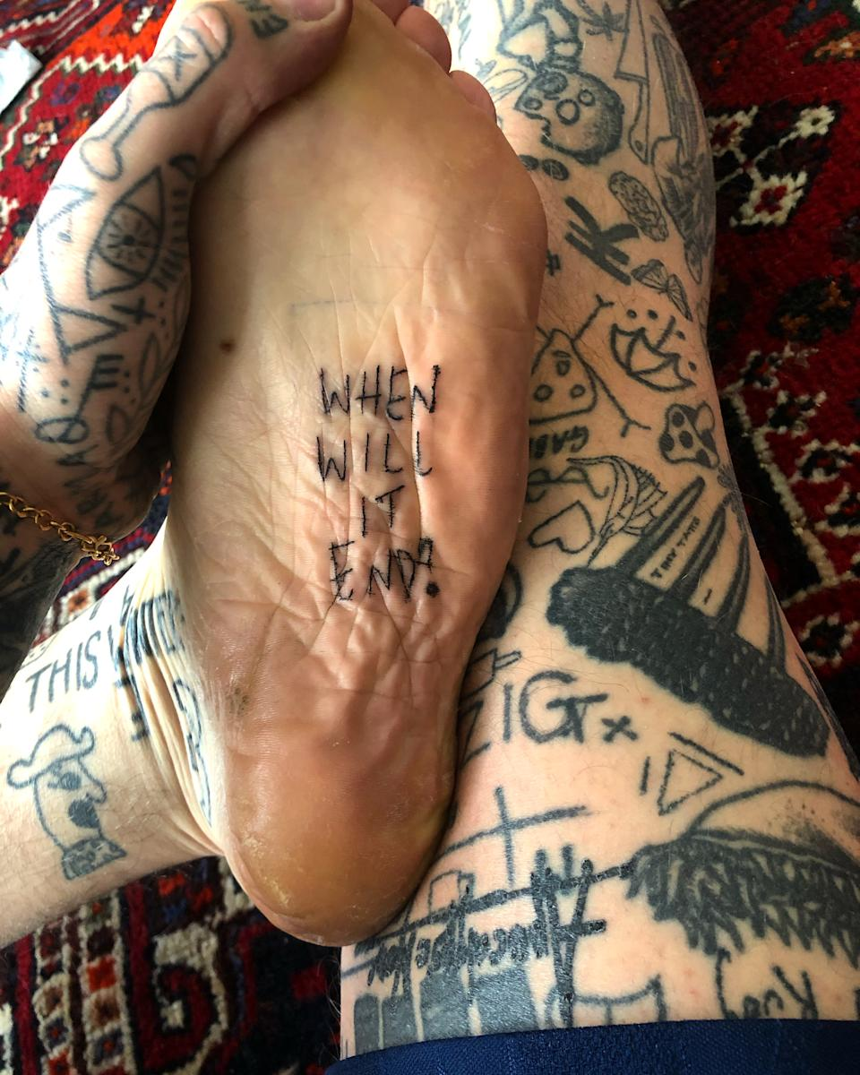 Woodhead has tattooed 'When will it end?' on his body during lockdown. (Chris Woodhead)