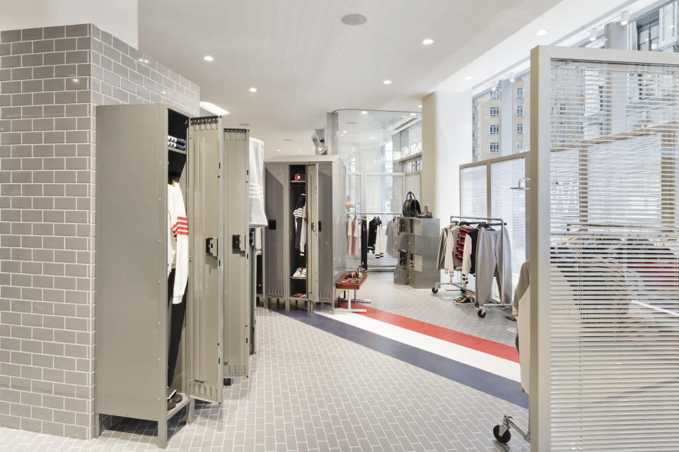 Thom Browne created a locker room for one of the pop-ups.