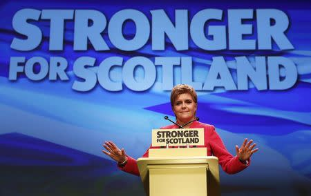 Party leader Nicola Sturgeon speaks at the Scottish National Party's conference in Aberdeen, Scotland, Britain March 18, 2017. REUTERS/Russell Cheyne