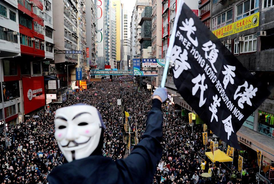 A Human Rights Day march in Hong Kong in 2019 - Danish Siddiqui/Reuters