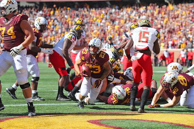 Shannon Brooks (23) is one of the holdovers who P.J. Fleck is counting on to lead Minnesota. (Getty)