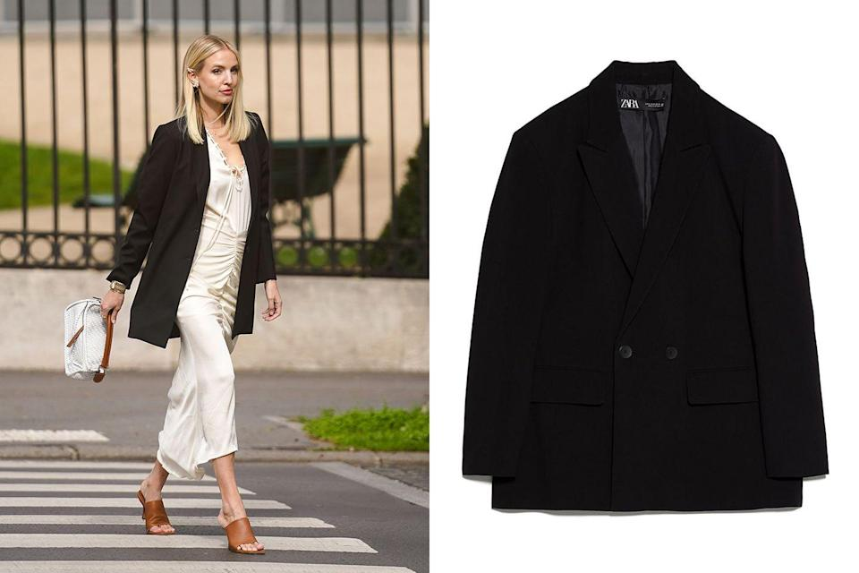 """<p>Run out of the office and straight to happy hour without having to think twice about changing. Wear a silky midi dress under this boxy blazer and you're set from day-to-night.</p><p><em><a href=""""https://www.zara.com/us/en/oversized-double-breasted-jacket-p02753032.html?v1=42984369&v2=1445747"""" rel=""""nofollow noopener"""" target=""""_blank"""" data-ylk=""""slk:Zara Oversized Double Breasted Blazer"""" class=""""link rapid-noclick-resp"""">Zara Oversized Double Breasted Blazer</a></em>; $70</p>"""