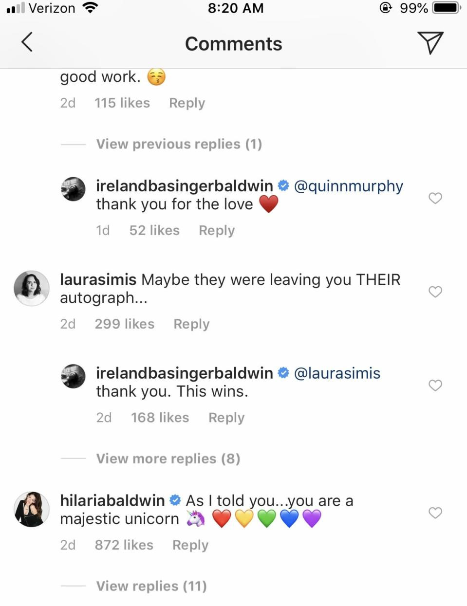 Hilaria Baldwin comments on Ireland's post. (Photo: Ireland Baldwin via Instagram)