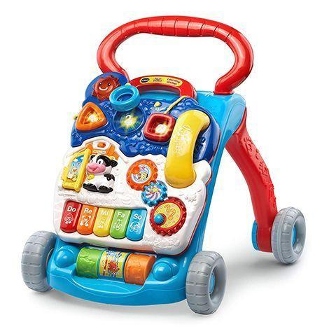 """<p><strong>VTech</strong></p><p>amazon.com</p><p><strong>$34.99</strong></p><p><a href=""""https://www.amazon.com/dp/B07CRSXMW8?tag=syn-yahoo-20&ascsubtag=%5Bartid%7C10055.g.5152%5Bsrc%7Cyahoo-us"""" rel=""""nofollow noopener"""" target=""""_blank"""" data-ylk=""""slk:Shop Now"""" class=""""link rapid-noclick-resp"""">Shop Now</a></p><p>This busy walker for kids 9 months and up has tons of exciting features — <strong>music, lights, gears and more!</strong> — to engage with as your child develops those motor skills. <em>Ages 9 months+</em><br></p>"""