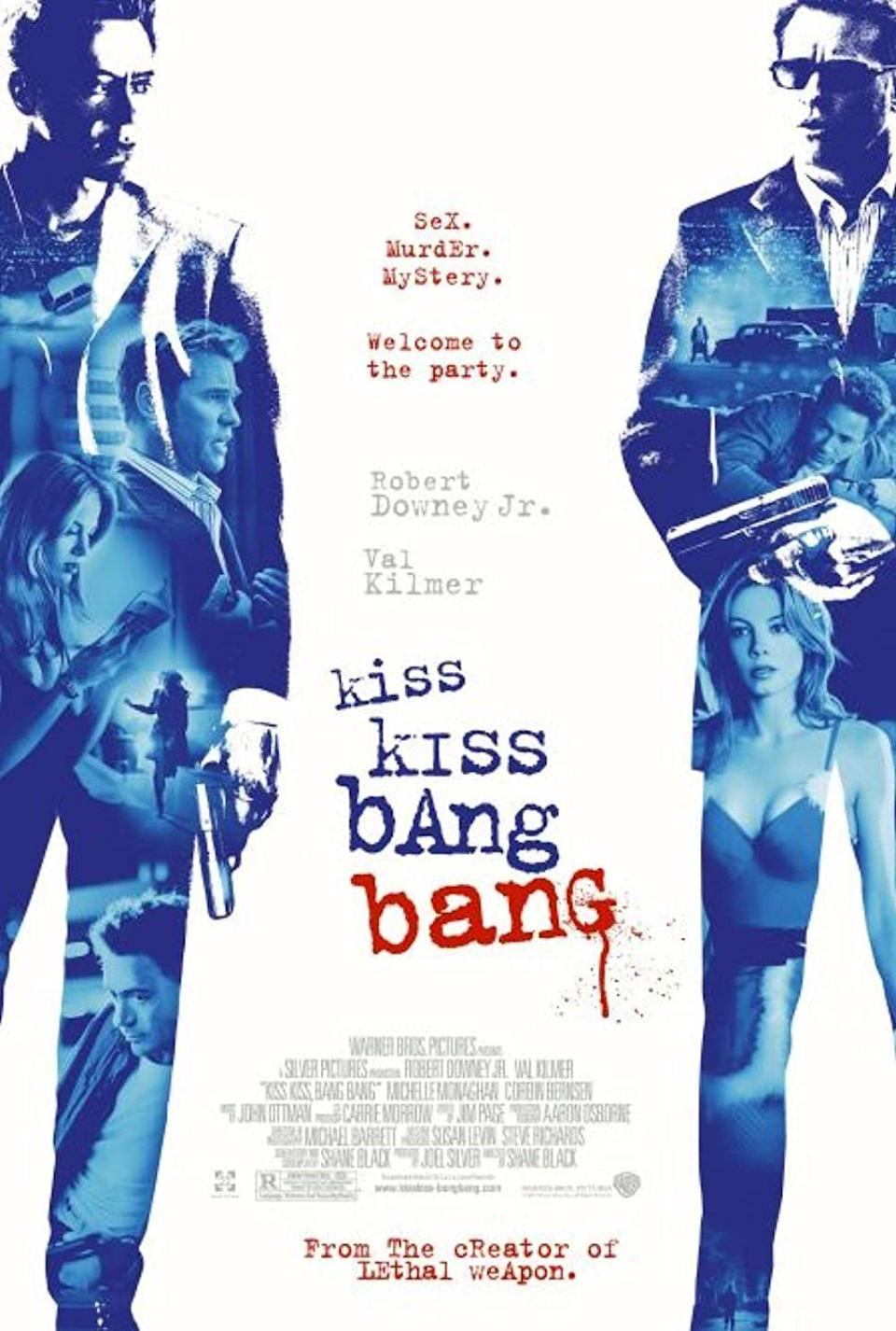 "<p>Robert Downey Jr. stars in this black comedy crime film described by the director himself<a href=""https://www.seattletimes.com/entertainment/kiss-kiss-bang-bang-screwball-murder-mystery/"" rel=""nofollow noopener"" target=""_blank"" data-ylk=""slk:as &quot;half romantic comedy, half murder mystery.&quot;"" class=""link rapid-noclick-resp""> as ""half romantic comedy, half murder mystery.""</a> The story follows a crook named Harry Lockhart, who gets tangled up in a murderous conspiracy in Hollywood after stumbling into an audition for a mystery film.</p><p><a class=""link rapid-noclick-resp"" href=""https://www.amazon.com/Kiss-Bang-Robert-Downey-Jr/dp/B002QYSZBO?tag=syn-yahoo-20&ascsubtag=%5Bartid%7C10055.g.34396232%5Bsrc%7Cyahoo-us"" rel=""nofollow noopener"" target=""_blank"" data-ylk=""slk:WATCH ON AMAZON"">WATCH ON AMAZON</a></p>"