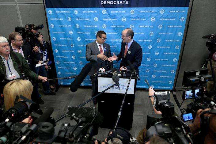 "<span class=""s1"">Keith Ellison and Tom Perez speak during the DNC's winter meeting in Atlanta in February. (Photo: Chris Berry/Reuters)</span>"