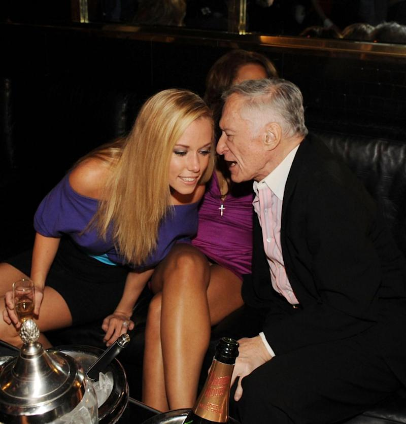Kendra Wilkinson and Hugh Hefner at his 83rd birthday party in 2016. Source: Getty