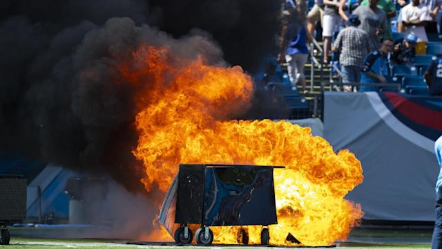 NFL pitch fire Tennessee Titans vs Indianapolis Colts, video, pyrotechnics failure