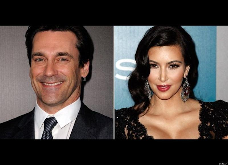 """Mad Men"" star Jon Hamm recently made some unflattering <a href=""http://www.huffingtonpost.com/2012/03/09/jon-hamm-slams-kim-kardashian-idiot-culture_n_1335411.html"" target=""_hplink"">comments to <em>Elle UK</em> </a>about celebrity culture, putting reality TV queen Kim Kardashian in his crosshairs. ""Whether it's Paris Hilton or Kim Kardashian or whoever, stupidity is certainly celebrated. Being a f**king idiot is a valuable commodity in this culture because you're rewarded significantly,"" he told the magazine. Kim responded on Twitter, <a href=""http://www.huffingtonpost.com/2012/03/12/kim-kardashian-responds-jon-hamm-stupid_n_1339923.html?ref=the-kardashians"" target=""_hplink"">writing</a>: ""I just heard about the comment Jon Hamm made about me in an interview. I respect Jon and I am a firm believer that everyone is entitled to their own opinion and that not everyone takes the same path in life. We're all working hard and we all have to respect one another. Calling someone who runs their own businesses, is a part of a successful TV show, produces, writes, designs, and creates, 'stupid,' is in my opinion careless."" When asked about his comments, <a href=""http://www.eonline.com/news/jon_hamm_kim_kardashian_slam_not/301003#ixzz1p6Yz2tbE"" target=""_hplink"">Hamm told E! News</a>, ""It's surprising to me that this has become remotely a story. I don't know Ms. Kardashian. I know her public persona. What I said was meant to be more on pervasiveness of something in culture, not personal, but she took offense to it and that is her right."""
