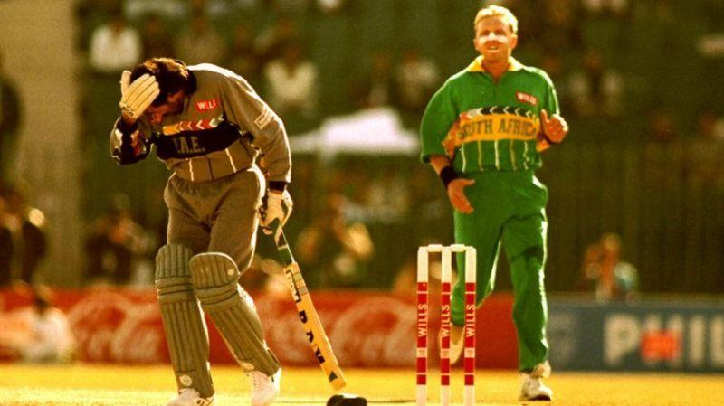 U.A.E captain, Sultan Zarawani faced Allan Donald without a helmet