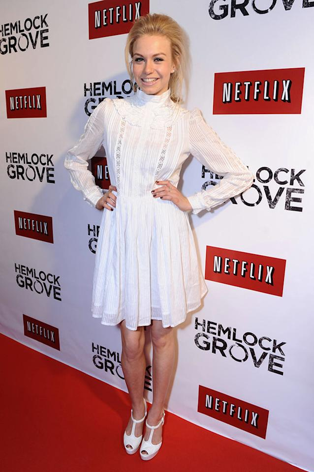 """Penelope Mitchell arrives at the """"Hemlock Grove"""" North America premiere for Netflix on Tuesday April 16, 2013, in Toronto."""