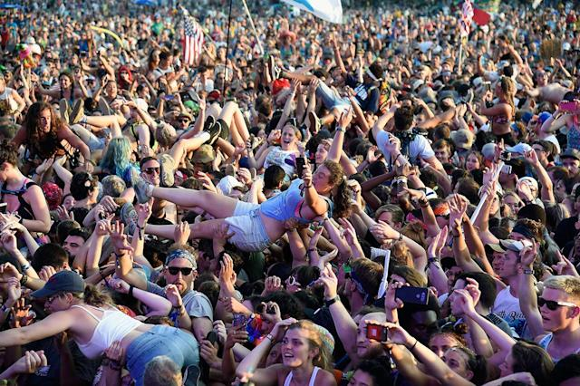 <p>Fans crowdsurf as Thirty Seconds to Mars performs onstage during the 2017 Firefly Music Festival on June 18, 2017 in Dover, Delaware. (Photo by Kevin Mazur/Getty Images for Firefly) </p>