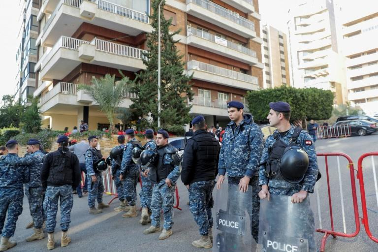 Lebanese police deploy outside the Beirut home of prime minister-designate Hassan Diab who has been holding talks on forming a new government for the protest-hit country
