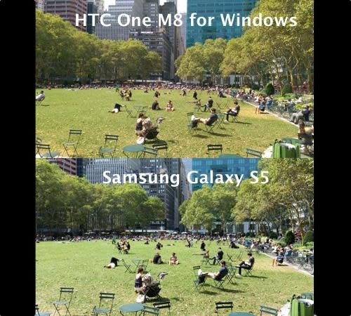 Same photo taken with HTC One and Samsung Galaxy cameras