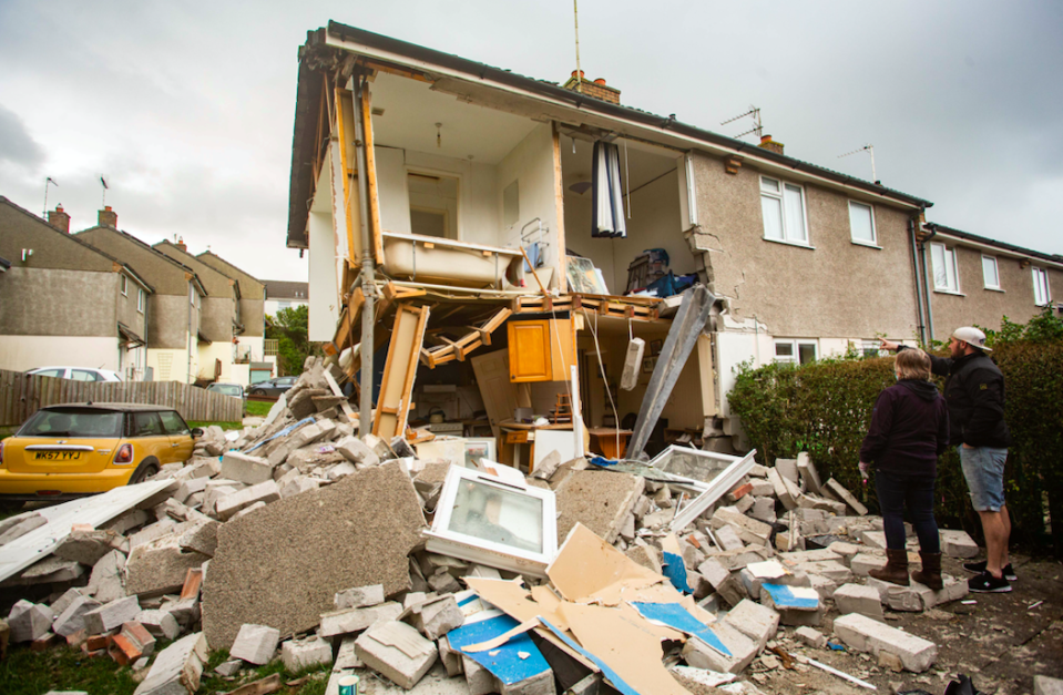 The house in Bude, Cornwall, was left in ruins after a huge gas explosion. (SWNS)
