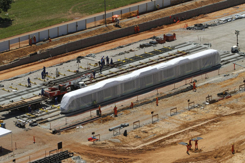In this Nov. 18, 2013 photo released by Secopa, the unfinished light rail system is built in Cuiaba, Mato Grosso state, Brazil. The head of World Cup projects for Brazil's far-western Mato Grosso state has acknowledged that the trains in the city of Cuiaba meant to help football fans move around the city won't be ready in time for 2014 World Cup. (AP Photo/SECOPA, Edson Rodrigues)