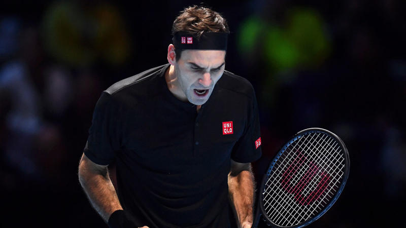 Roger Federer reacts in his semi-final singles match against Stefanos Tsitsipas in the ATP World Tour Finals at The O2 Arena on November 16, 2019 in London, England. (Photo by Justin Setterfield/Getty Images)