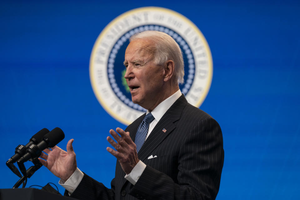 President Joe Biden answers questions from reporters in the South Court Auditorium on the White House complex, Monday, Jan. 25, 2021, in Washington. (AP Photo/Evan Vucci)