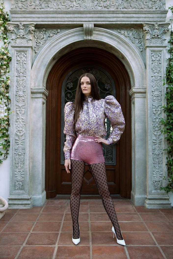 """Lydia Hearst in a look from Wolk Morais' Collection 9. <span class=""""copyright"""">(Fiorella Occhipinti)</span>"""
