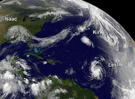 Tropical Storm Isaac moving over the Mississippi Valley, and Hurricane Kirk and Tropical Storm Leslie on August 31