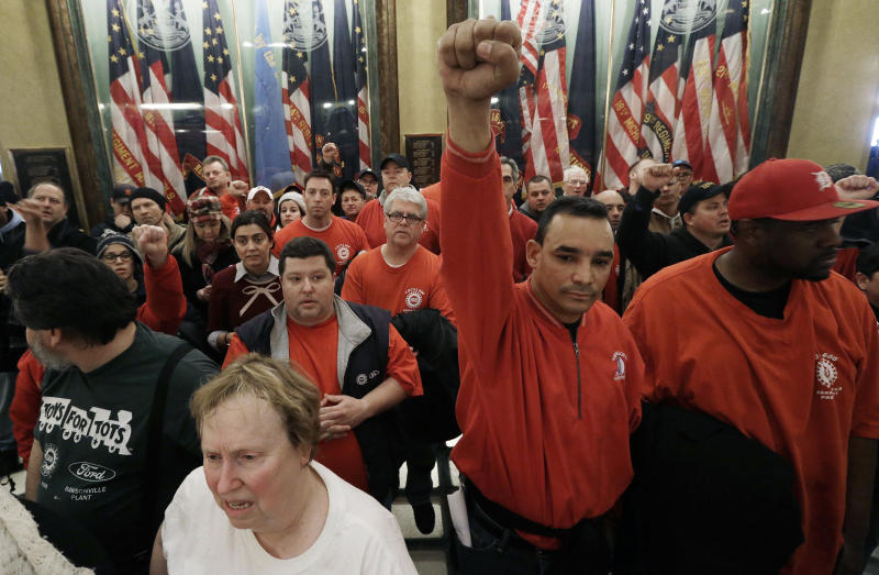 Protesters swarm Mich. Capitol on labor bills