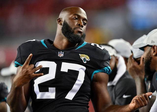 Leonard Fournette left Sunday's game against the Giants early. (Getty)