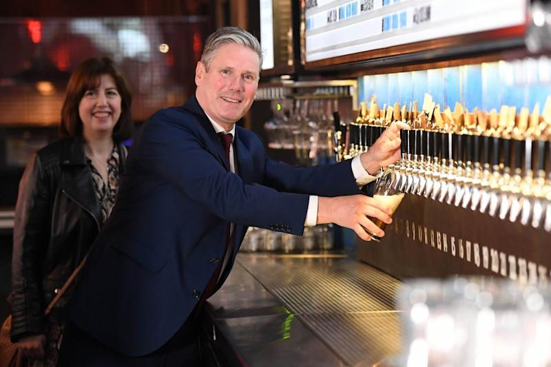 Sir Keir and Lucy Powell at BrewDog's pub (PA)