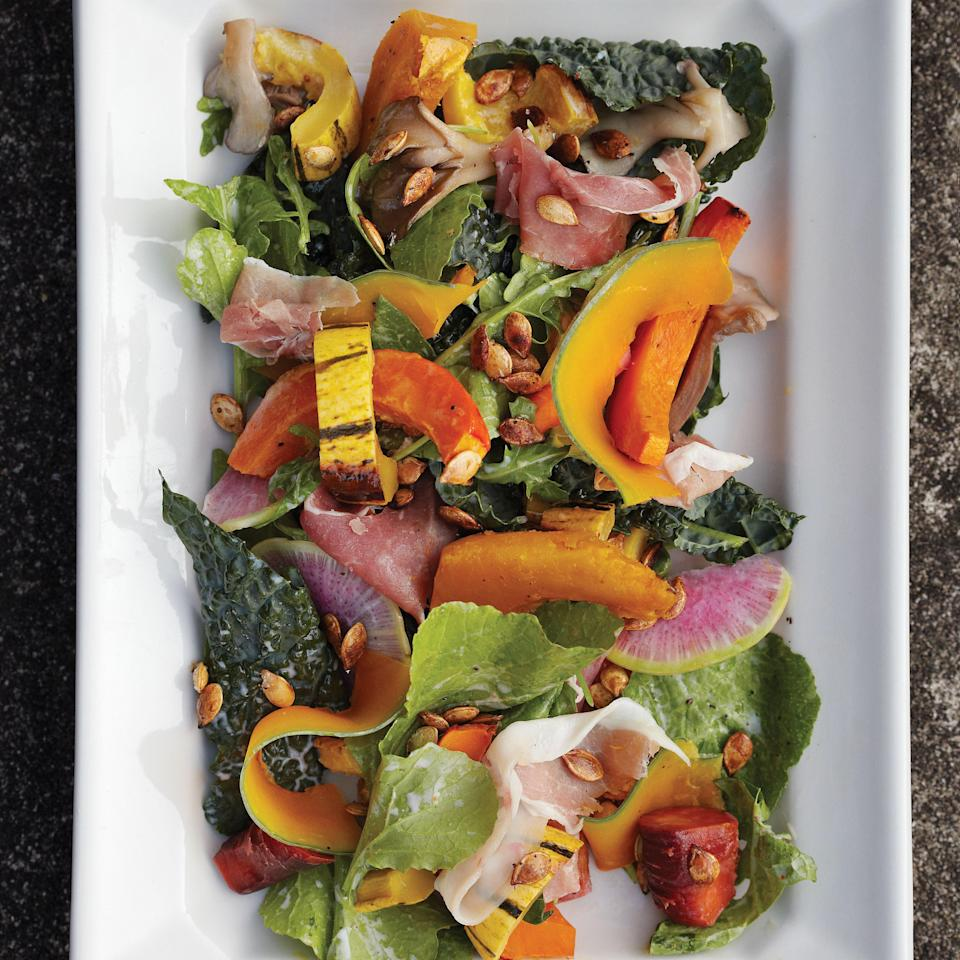 """Put <em>all</em> of your squash to good use with this delicata squash recipe, a salad that combines roasted squash, blanched squash, pickled squash, and toasted squash seeds. <a href=""""https://www.epicurious.com/recipes/food/views/autumn-squash-salad-395571?mbid=synd_yahoo_rss"""" rel=""""nofollow noopener"""" target=""""_blank"""" data-ylk=""""slk:See recipe."""" class=""""link rapid-noclick-resp"""">See recipe.</a>"""