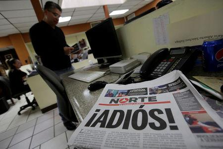 "El Norte newspaper is pictured after the paper announced its closure due to what it says is a situation of violence against journalists in Ciudad Juarez, Mexico, April 2, 2017. The word reads, ""Goodbye!"". REUTERS/Jose Luis Gonzalez"