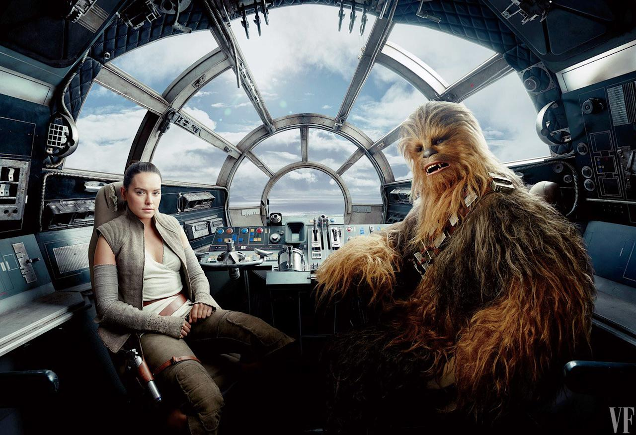 <p>Daisy Ridley as Rey, at the helm of the Millennium Falcon, with Joonas Suotamo as co-pilot Chewbacca. (Annie Liebovitz for Vanity Fair) </p>
