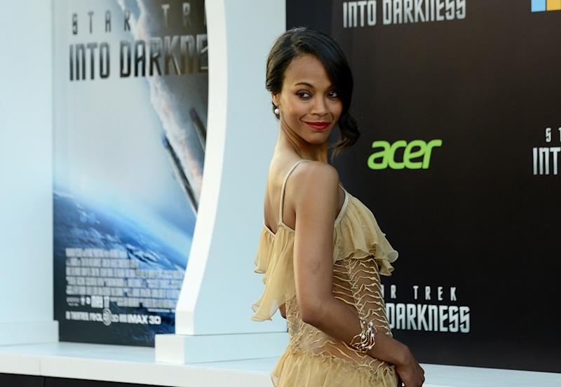 "Zoe Saldana arrives at the LA premiere of ""Star Trek Into Darkness"" at The Dolby Theater on Tuesday, May 14, 2013 in Los Angeles. (Photo by Jordan Strauss/Invision/AP)"
