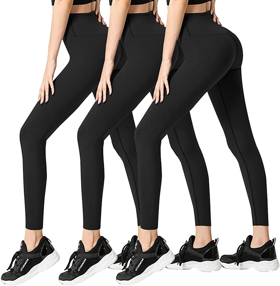 <p>Get your money's worth with these top-ratedFullsoft Leggings ($23 for three). They come in a variety of colors. </p>