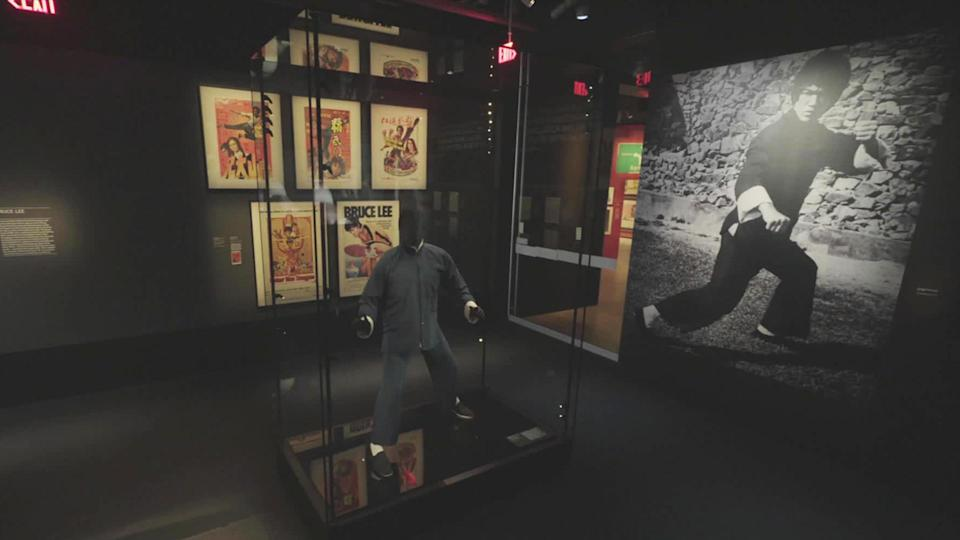 An exhibit featuring Bruce Lee (