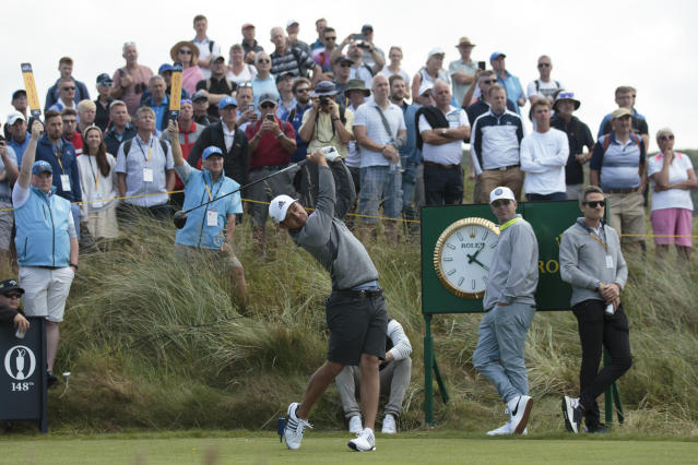 Xander Schauffele of the United States drives off the 7th tee during a practice round at Royal Portrush Golf Club, Northern Ireland, Monday, July 15, 2019. The148th Open Golf Championship begins on July 18. (AP Photo/Jon Super)