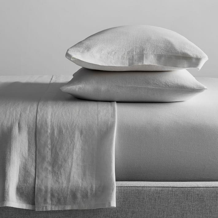 """<p><strong>West Elm</strong></p><p>westelm.com</p><p><a href=""""https://go.redirectingat.com?id=74968X1596630&url=https%3A%2F%2Fwww.westelm.com%2Fproducts%2Fbelgian-flax-linen-sheet-set-b3006&sref=https%3A%2F%2Fwww.housebeautiful.com%2Fshopping%2Fg33337693%2Fwest-elm-is-having-a-huge-summer-saleheres-what-to-buy%2F"""" rel=""""nofollow noopener"""" target=""""_blank"""" data-ylk=""""slk:Shop Now"""" class=""""link rapid-noclick-resp"""">Shop Now</a></p><p><del>$239 – $279</del><strong><br>$89.99—$99.99</strong></p><p>Trust us: Lightweight, linen sheets are invaluable once a heat wave comes rolling through your neighborhood.</p>"""