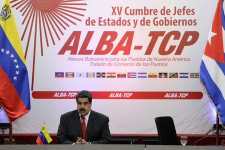 FILE PHOTO - Venezuela's President Nicolas Maduro speaks during an ALBA alliance summit to mark fifth anniversary of the death of Venezuela's late President Hugo Chavez in Caracas, Venezuela March 5, 2018. REUTERS/Marco Bello