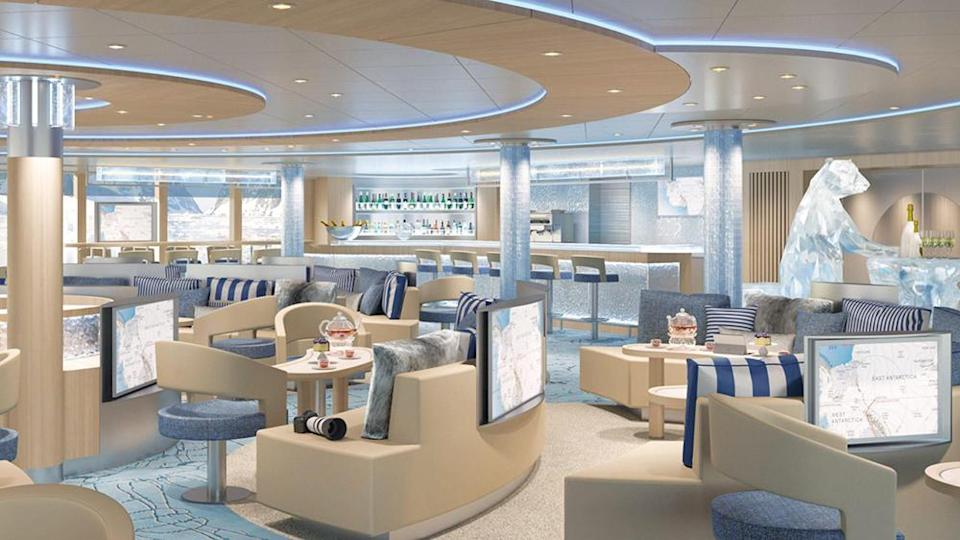 The lounge space with a bar. - Credit: Courtesy of Lindblad Expeditions