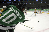 Dallas Stars center Ty Dellandrea (10) takes a shot on goal in the second period against the Nashville Predators during an NHL hockey game on Sunday, March 7, 2021, in Dallas. (AP Photo/Richard W. Rodriguez)