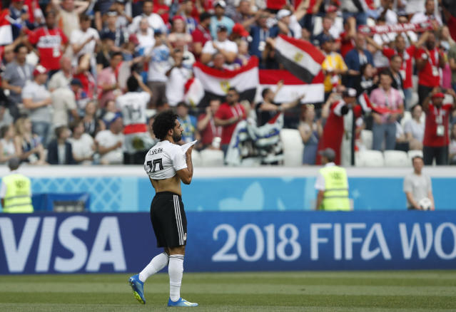 Egypt's Mohamed Salah celebrates after scoring the opening goal during the group A match between Saudi Arabia and Egypt at the 2018 soccer World Cup at the Volgograd Arena in Volgograd, Russia, Monday, June 25, 2018. (AP Photo/Darko Vojinovic)